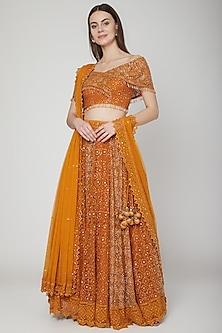 Mustard Chikankari Embroidered Lehenga Set by Vandana Sethi
