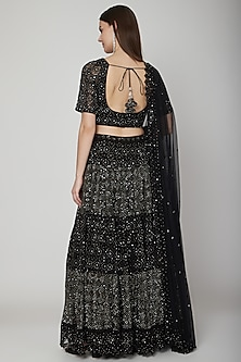 Black Embroidered Chikankari Lehenga Set by Vandana Sethi