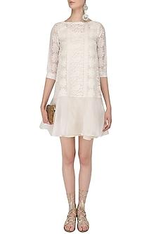 White Chikankari Short Dress by Vasavi Shah