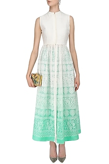 Off White To Turquoise Chikankari Jacket Tunic and Pants Set by Vasavi Shah