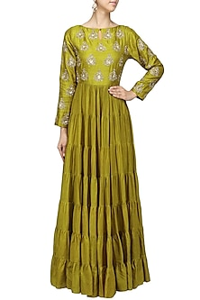 Olive Green Embroidered Tier Kurta by Vasavi Shah