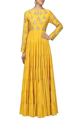 Mustard Yellow Embroidered Tier Kurta by Vasavi Shah