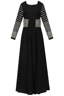 Black Embroidered Anarkali with Corset Belt by Vasavi Shah