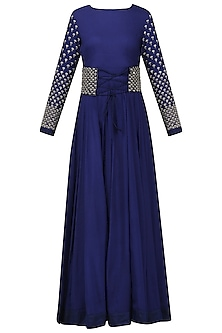 Navy Blue Embroidered Anarkali with Corset Belt by Vasavi Shah