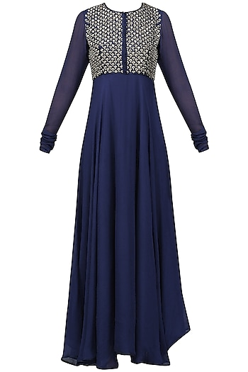 Navy Blue Embroidered Flared Kurta with Dupatta Set by Vasavi Shah