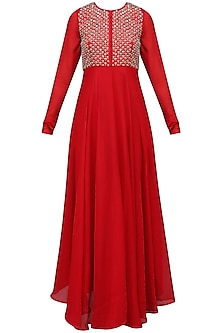 Red Embroidered Flared Kurta with Dupatta Set by Vasavi Shah