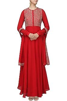 Red Embroidered Flared Kurta with Dupatta Set by Vasavi Shah