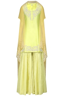 Lime Green Embroidered Kurta with Gharara and Dupatta by Vasavi Shah