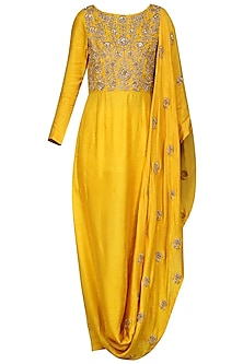 Mustard Draped Kurta with Leggings by Vasavi Shah
