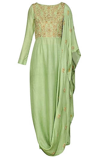 Sea Green Draped Kurta with Leggings by Vasavi Shah