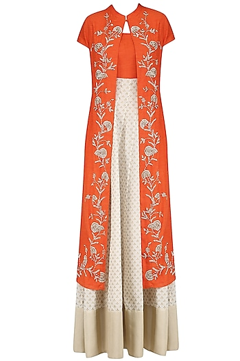 Off White and Orange Printed Kurta Set with Embroidered Jacket by Vasavi Shah