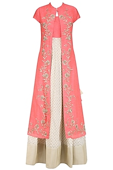 Off White and Peach Printed Kurta Set with Embroidered Jacket by Vasavi Shah