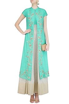 Off White and Turquoise Printed Kurta Set with Embroidered Jacket by Vasavi Shah