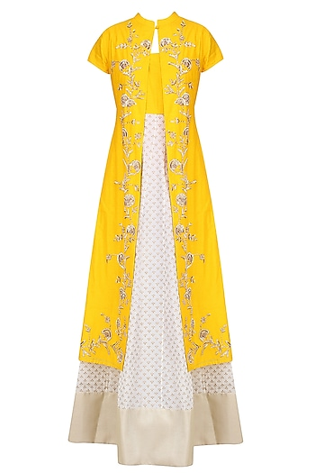 Off White and Yellow Printed Kurta Set with Embroidered Jacket by Vasavi Shah