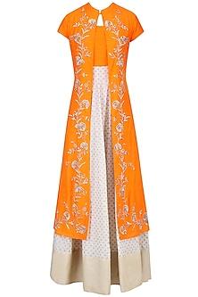 Off White and Light Orange Printed Kurta Set with Embroidered Jacket by Vasavi Shah