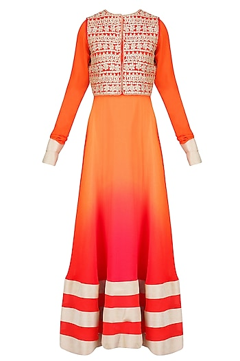 Orange Urab Cut Kurta Set with Gota Work Jacket by Vasavi Shah