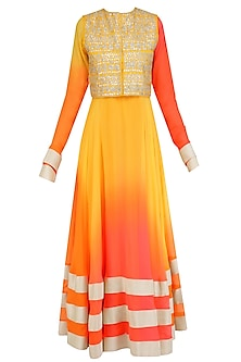 Yellow Urab Cut Kurta Set with Gota Work Jacket by Vasavi Shah