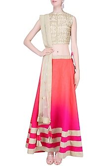 Off White and Pink Gota Cutwork Lehenga Set by Vasavi Shah