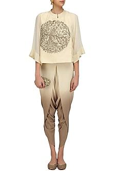 Off White Peacock Embroidered Short Kurta and Dhoti Pants Set by Vasavi Shah