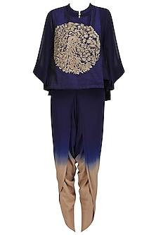 Navy Blue Peacock Embroidered Short Kurta and Dhoti Pants Set by Vasavi Shah