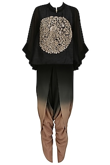 Black Peacock Embroidered Short Kurta and Dhoti Pants Set by Vasavi Shah