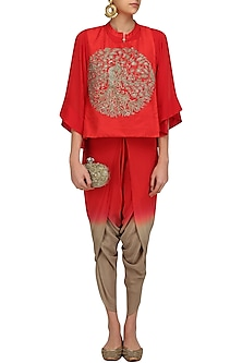 Red Peacock Embroidered Short Kurta and Dhoti Pants Set by Vasavi Shah