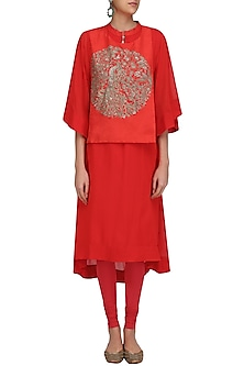 Red and Gold Peacock Motif A Line Kurta by Vasavi Shah