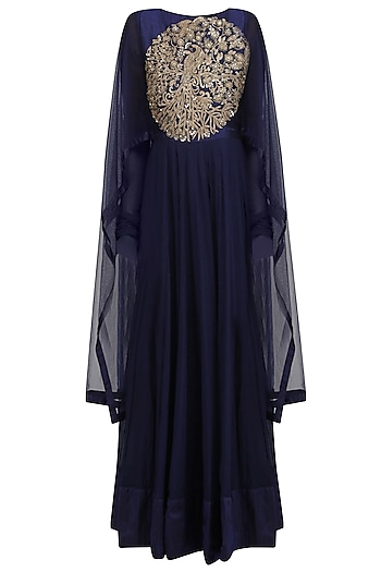 Navy Blue Embroidered Kalidaar Kurta with Drape Sleeves by Vasavi Shah