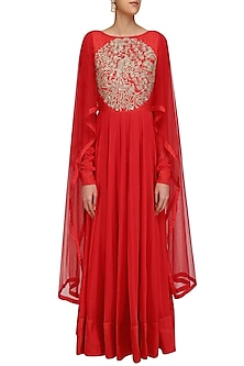 Red Embroidered Kalidaar Kurta with Drape Sleeves by Vasavi Shah