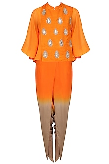 Orange Embroidered Cape, Top and Dhoti Pants Set by Vasavi Shah