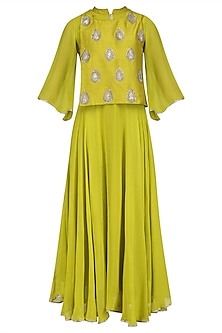 Lime Green Embroidered Motifs Cape Tunic by Vasavi Shah