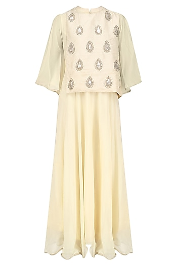 Ivory Embroidered Motifs Cape Tunic by Vasavi Shah