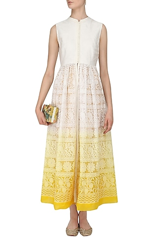 Off White To Yellow Chikankari Jacket Tunic and Pants Set by Vasavi Shah