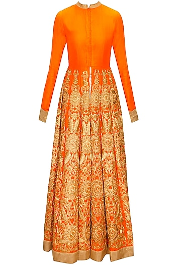 Orange embroidered jacket with off-white printed pants by Vasavi Shah