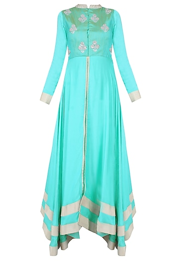 Turquoise Blue And Silver Sequins Embroidered Floral Bootis Urab Cut Kurta Set by Vasavi Shah