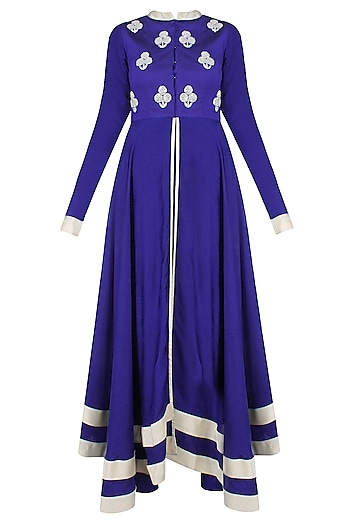 Navy Blue And Silver Sequins Embroidered Floral Bootis Urab Cut Kurta Set by Vasavi Shah