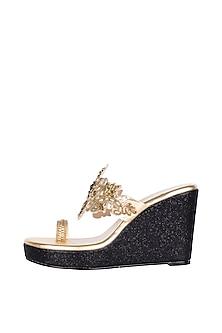 Gold & Black Embroidered Glitter Heel Sandals by Veruschka By Payal Kothari