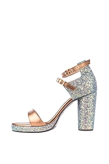 Bronze Green Glitter Heel Sandals by Veruschka By Payal Kothari