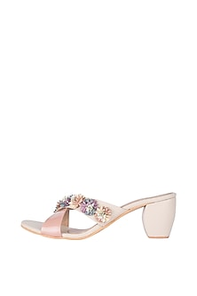 Cream & Pink Floral Heel Sandals by Veruschka By Payal Kothari
