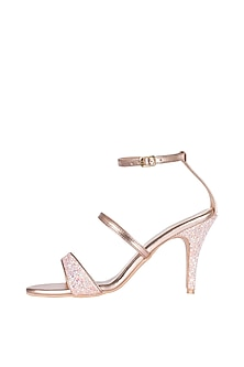 Salmon & Pink Metallic Strappy Heel Sandals by Veruschka By Payal Kothari