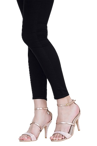 Salmon & Pink Metallic Strappy Heel Sandals by Veruschka By Payal Kothari