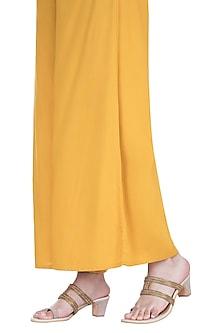 Cream & Gold Embroidered Heel Sandals by Veruschka By Payal Kothari