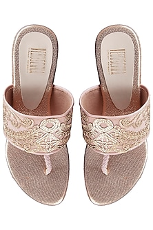 Pink And Gold Embroidered Wedges by Veruschka By Payal Kothari