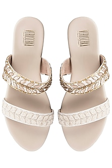 White And Pink Embroidered Platform Slipons by Veruschka By Payal Kothari