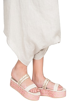 White And Pink Embroidered Platform Slipons by Veruschka By Payal Kothari