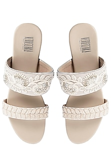 Cream And White Embroidered Block Heel Sandals by Veruschka By Payal Kothari