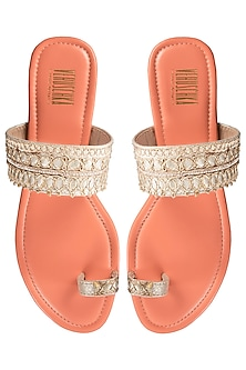 Orange Embroidered Kolhapuri Sandals by Veruschka By Payal Kothari