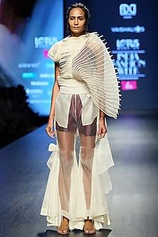 White Sheer Top With Pants, Crop Top & Shorts by Vaishali S