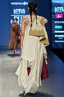 White Embroidered Asymmetric Dress With Cape & Magenta Layered Dress by Vaishali S