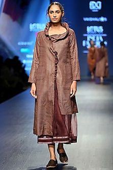 Brown Coat Style Dress With Sheer Skirt by Vaishali S
